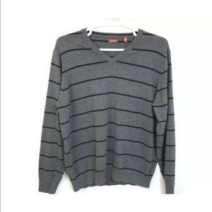 Izod Mens Sweater Gray Black Stipe Preppy
